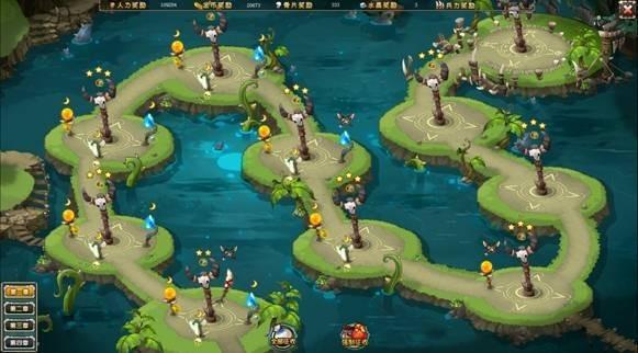 1. 玩家通过点击猎场进入塔防选关地图.